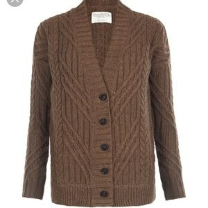 Allsaints Bryony cable knit cardigan brown wool